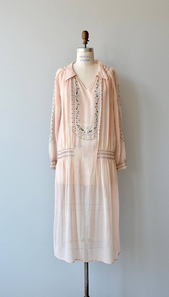 a078b1bbbbbb Antique 1920s sheer and soft cotton gauze dress with pastel folk-style  embroidery
