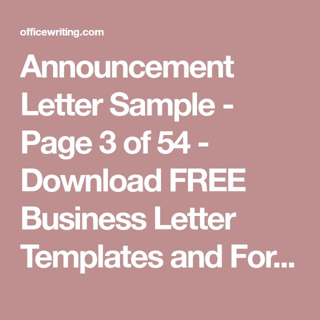 The 25+ best Business letter sample ideas on Pinterest Business - announcement letter sample format