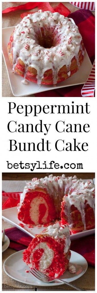 Peppermint Candy Cane Bundt Cake. This is a fun holiday dessert recipe.