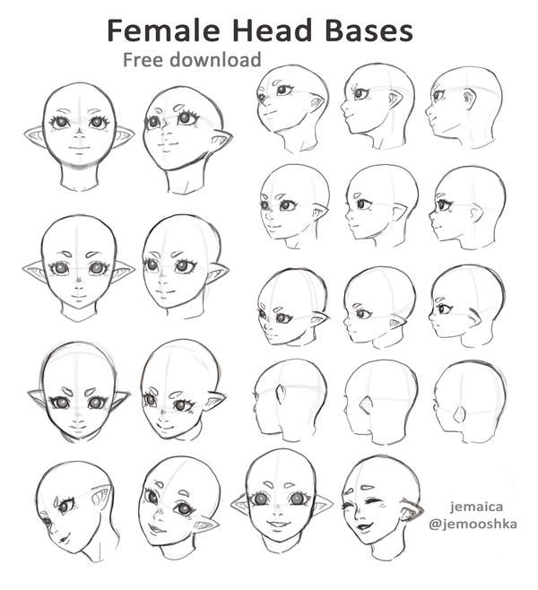 Female Head Bases By Https Www Deviantart Com Jemajema On Deviantart Anime Head Shapes Body Shape Drawing Female Head