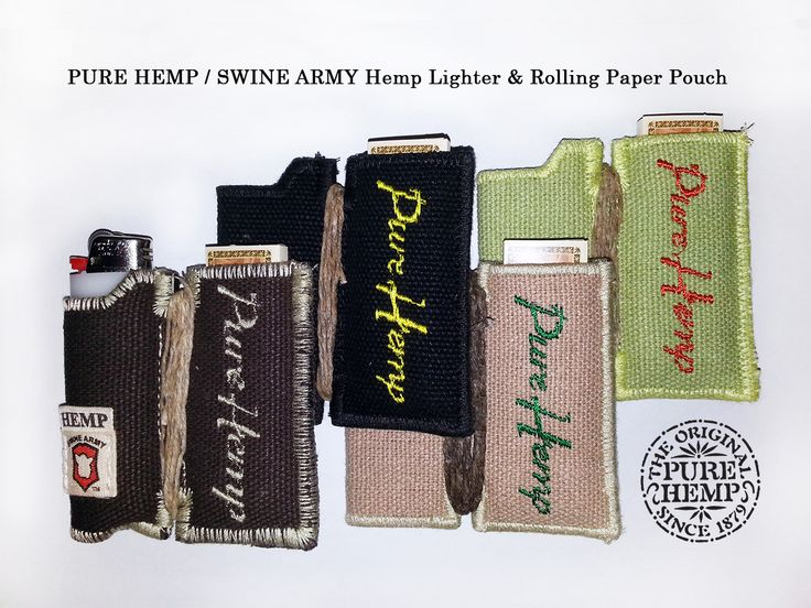 Our PURE HEMP / Swine Army Co-Branded Hnadmade Organic Hemp Lighter & Rolling Paper Pouch is made of 100% Organic Hemp with 10ft of Hemp twine wrapped around it for a clean light everytime. Each pouch comes with a FREE booklet of PURE HEMP Unbleached rolling papers. Very Limited Quantities Remaining *available in Chocolate Brown, Black, Natural or Sage Green Available HERE: www.shop.purehemp.com/content/pure-hemp-lighter-rolling-paper-pouch