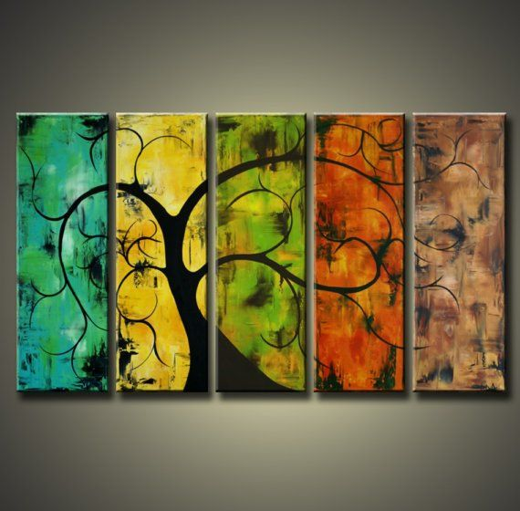 """Abstract Painting Modern Art Tree Deco $225.00 - I like the other tree painting better but again, I like how it's the same """"subject"""" but portrayed in different seasons/themes"""