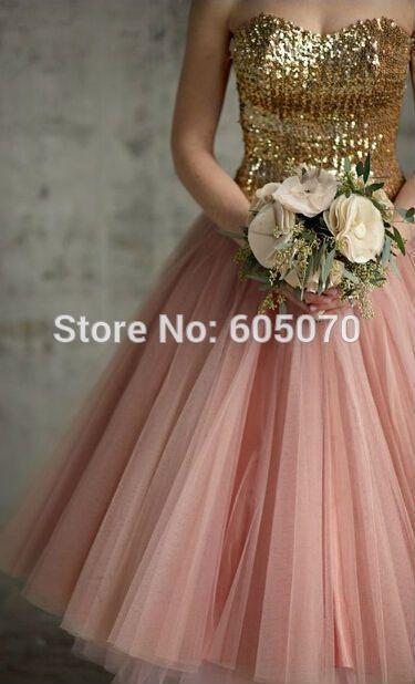 korte roze en goud bruidsmeisje jurk vestidos de festa prom jurk met pailletten in    Je zou kunnen doen van de betaling online door krediet,tt van bruidsmeisje jurken op AliExpress.com | Alibaba Groep