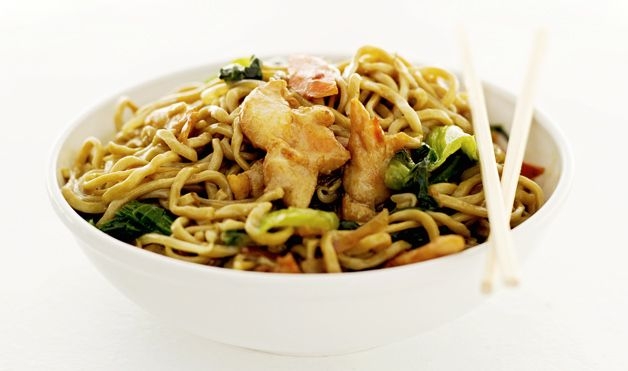 """New Year Good Luck Food- Long Noodles  In China, Japan and other Asian countries, it's customary to eat long noodles, signify longevity, on New Year's Day. Since the noodles are never to be broken or shortened during the cooking process, the typical preparation for """"Long-Life Noodles"""" is a stir-fry. Photo: Thinkstock"""