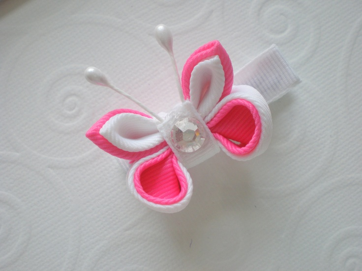 Hot Pink and White Kanzashi Butterfly by CCsChicBowtique on Etsy, $8.50  #kanzashi #hairclip #Etsy