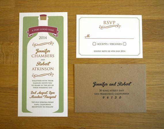 modern vineyard wedding invitation / 'wine bottle' rustic winery, Wedding invitations