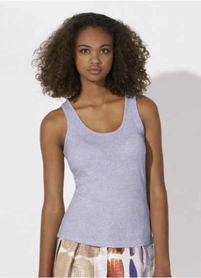Dream on - ladies' organic cotton racerback tank top in Light Heather Lilac. This comfy and soft tank is fair trade and made in Bangladesh. #organiccottonclothing #fairtradeclothing
