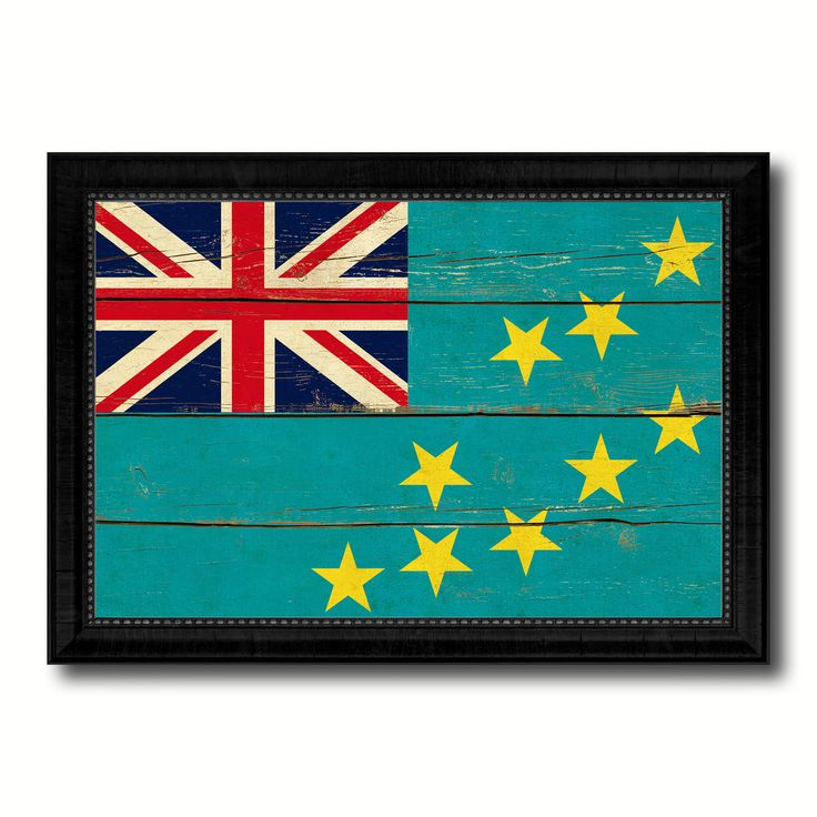 Tuvalu Country Flag Vintage Canvas Print with Black Picture Frame Home Decor Gifts Wall Art Decoration Artwork