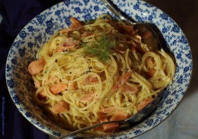 Smoked Salmon Carbonara recipe with Lemon and Dill