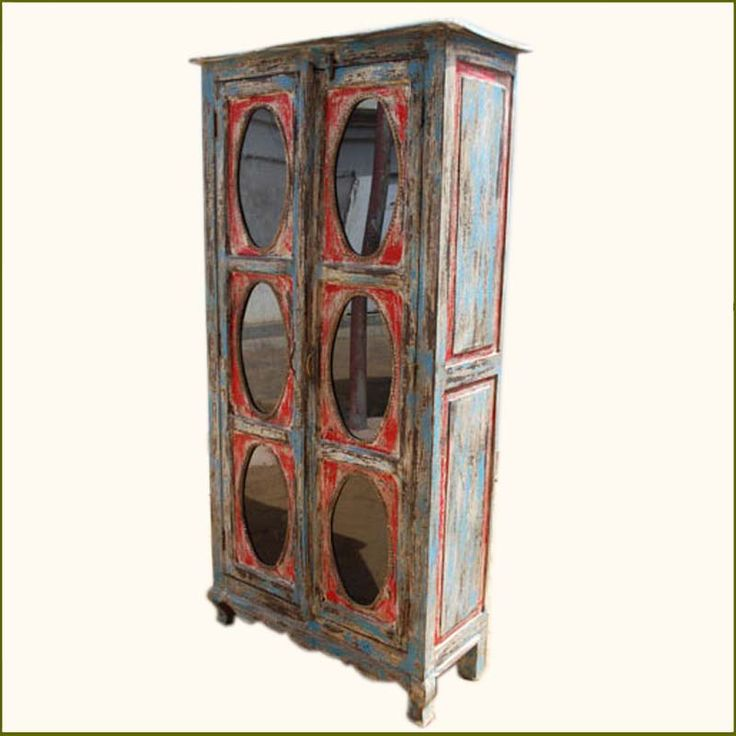 Superior Distressed Multi Color Painted Armoire Cabinet