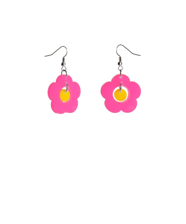 Posy Earrings, Brights - Celebrate the arrival of spring with the Posy Earrings. Inspired by 70's floral patterns, bold blooms are laser cut in fluorescent pink and yellow acrylic, hanging on golden hooks. Team with a vintage headscarf for a total flower power look.