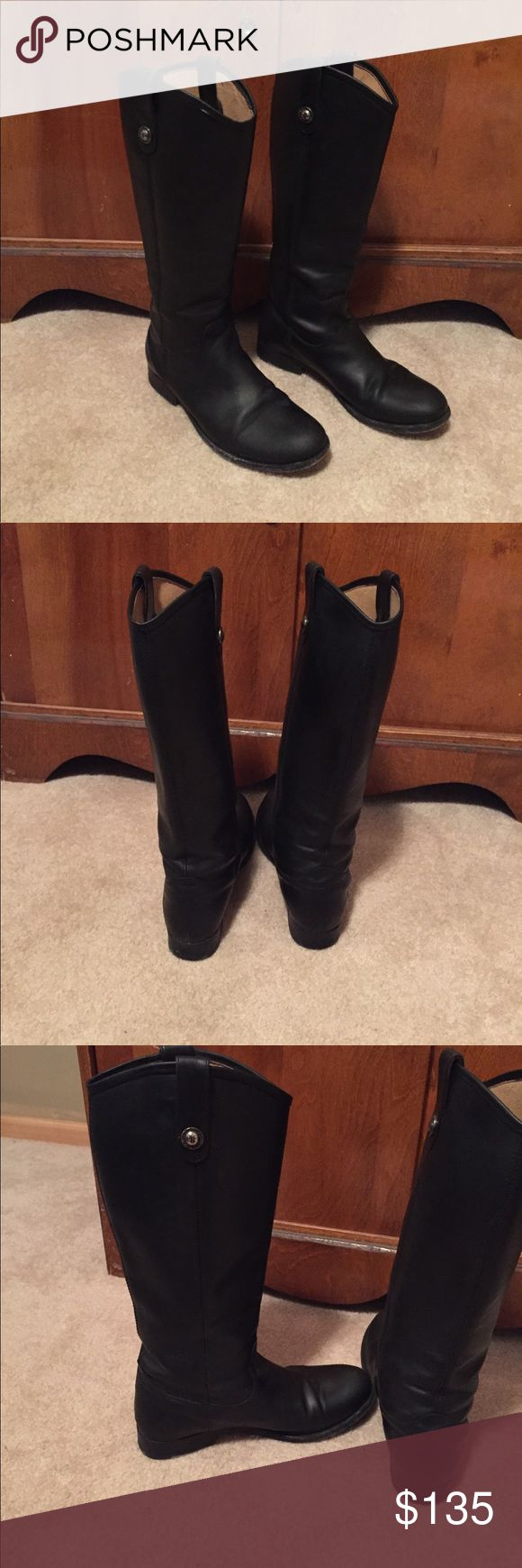 Black Melissa Frye boots Black leather Melissa style Frye boots. Leather in great shape..minor wear on soles. Calf measurements are 14 inches. 1 inch heel. Frye Shoes