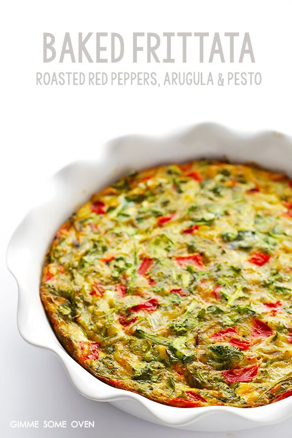 Baked Frittata with Roasted Red Peppers, Arugula and Pesto   gimmesomeoven.com