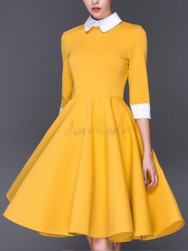 新作大人気 長袖ワンピース衿つき切り替え大裾ワンピース 11453569 - デートワンピース - Doresuwe.Com