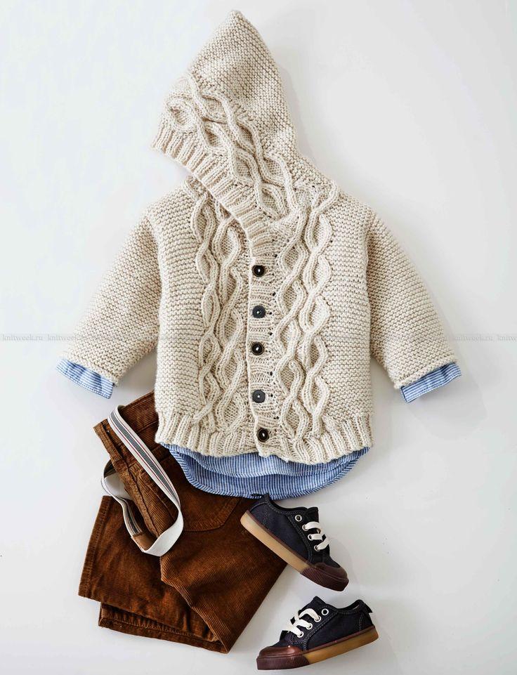 Детский жакет с капюшоном и аранами - Фото 1