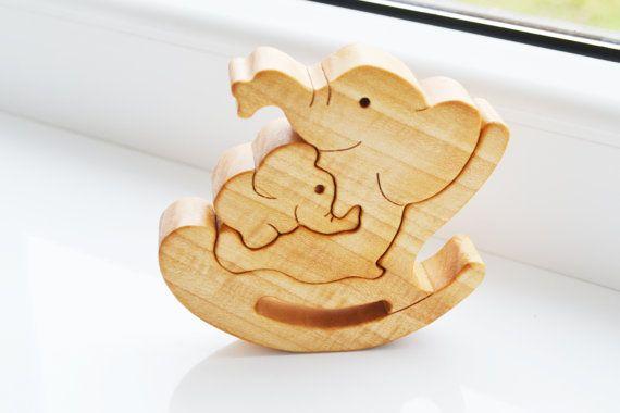 Puzzle elefante de juguete - puzzle animales de rompecabezas de madera elefante - niños regalos de juguetes educativos - columpio madera - - - familia
