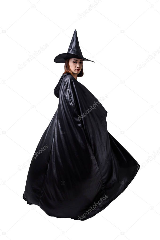 Portrait Of Woman In Black Scary Witch Halloween Costume Standin