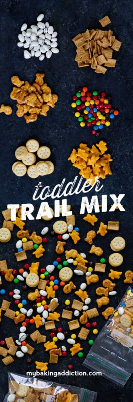 Toddler Snack Mix- Of course you could purchase ready-made snack mix, but why do that when making your own is so stinkin' easy? You can customize it to what your little love, well, loves. And what Mama loves too - because don't lie - you'll be digging in too. How could you not, with all those goodies?