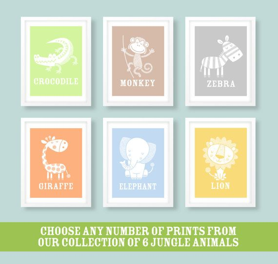Childrens jungle print collection  These charming jungle prints would make a perfect addition to any nursery. The tonal collection features a cute