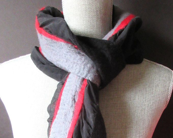 Nuno felted scarves, black, red, gray felted silk and wool scarf, double sided long felted scarf, scarves for women, made in Canada.