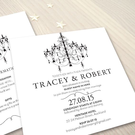 Chandelier © Paper Wedding 2015  Wedding invitation from the Off-the-Rack collection: http://www.paperwedding.co.nz/#!off-the-rack-designs/c1dlq