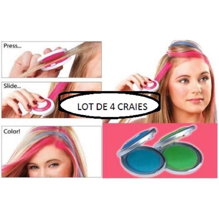 MASCARA CHEVEUX 4 craies pour cheveux rose violet vert et bleu envoii rapide sous 48h de france