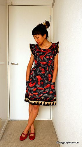 Black & Red Batik Dress