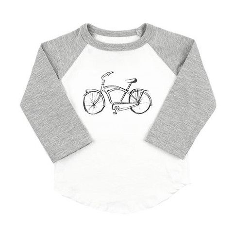 Ball Tee with Bike Print - mini mioche - organic infant clothing and kids clothes - made in Canada