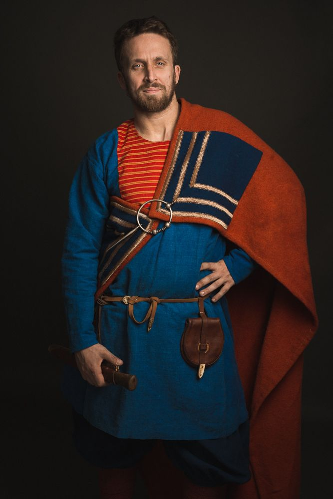 """Viking man clothing: replica of Gokstad. Weaving, sewing and dyeing by hands. Crafter is Kovaleva Alina (craftroom is """"Скупая Хель""""): https://www.facebook.com/norsviking"""