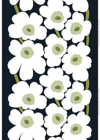 Unikko Sateen Fabric Black/White/Green | Kiitos Marimekko