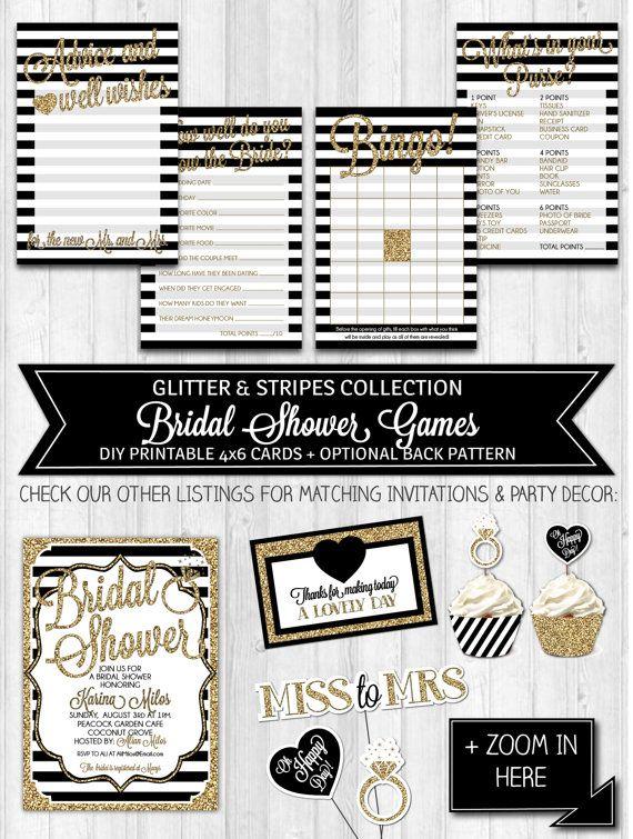 INSTANT DOWNLOAD Bridal Shower Games, Black & Gold Glitter Black White Shower Activities, Bridal Shower Advice Card - Digital PRINTABLE File