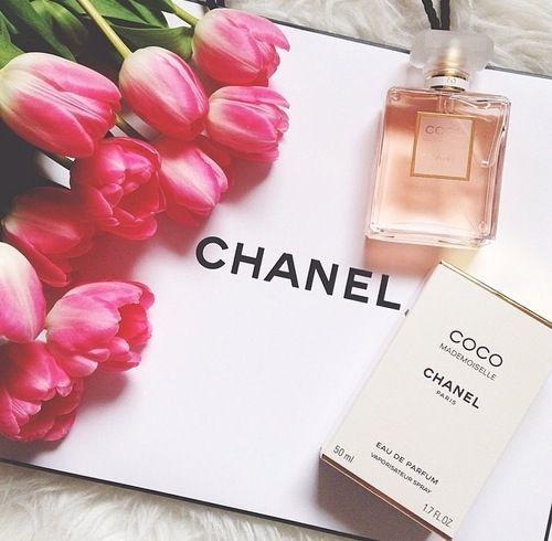 Flowers and Coco Chanel perfume for the lady