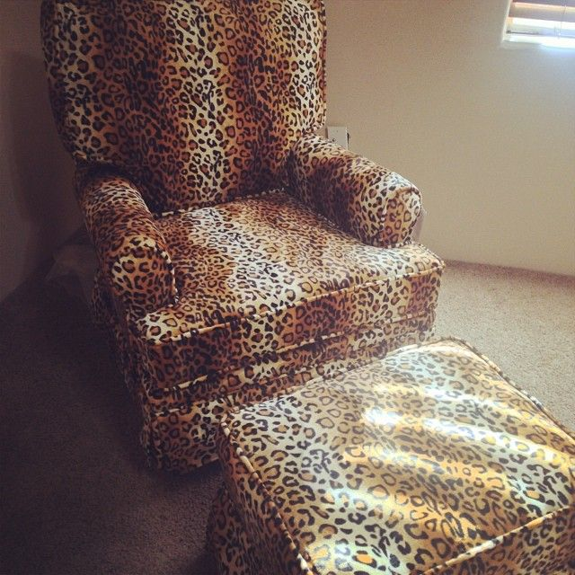 Leopard Print Chair With Ottoman.