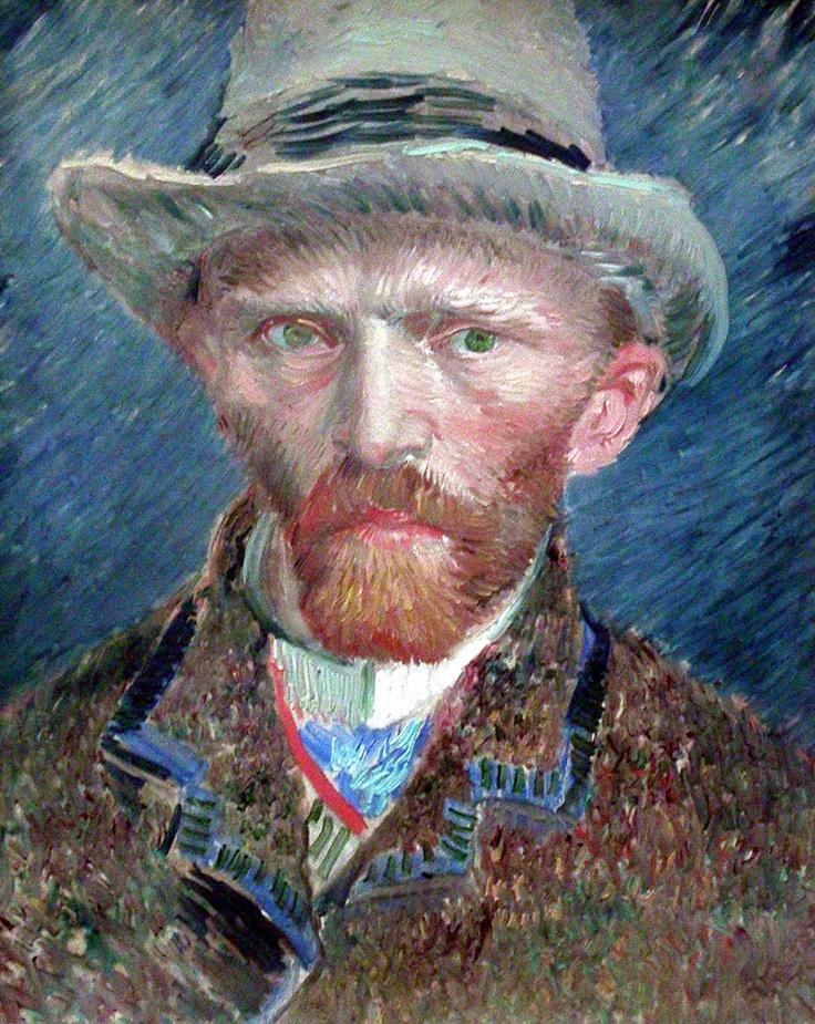 회색 모자를 쓴 자화상 :  1887년작, 판지에 유화. 네덜란드 암스테르담 Stedelijk Museum 소장.