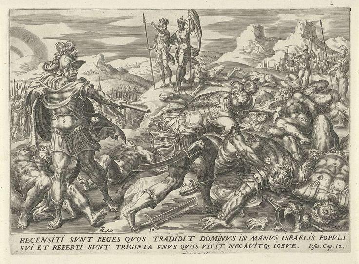 Harmen Jansz Muller | Eenendertig koningen verslagen door Jozua, Harmen Jansz Muller, Gerard P. Groenning, 1567 - 1570 | Jozua staat links in een landschap en wijst naar de 31 koningen op de grond, die hij verslagen heeft. Onderaan in de marge een verwijzing naar de Bijbeltekst in het Latijn.