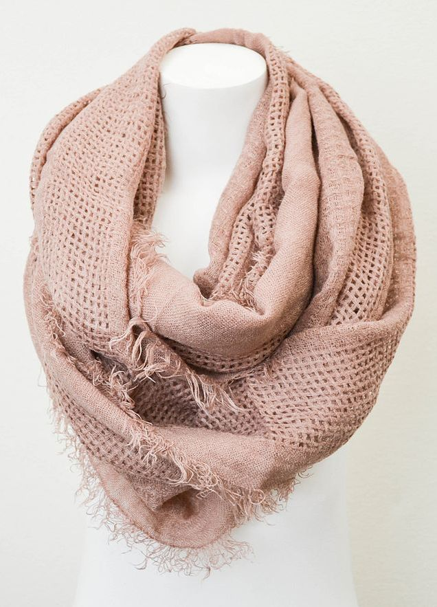 Leto Collection Rose Open Grid Infinity Scarf