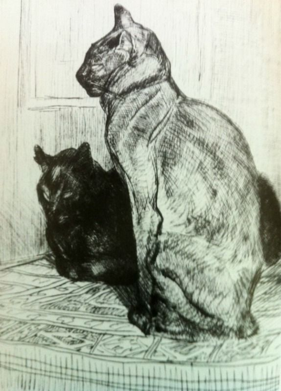 Steinlen  1914  Two Cats, One Sitting up, the Other Lying Down, Head Lifted  Etching on zinc  Petit Palais Museum, Geneva