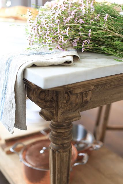 A charming vintage inspired kitchen island - FRENCH COUNTRY COTTAGE #frenchcountrycottage #kitchendecor #frenchvintage