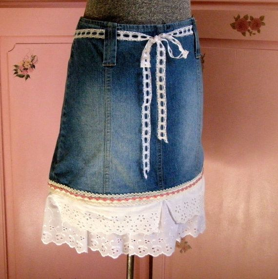 remade blue jean skirt with vintage lace eyelet and trim ruffles