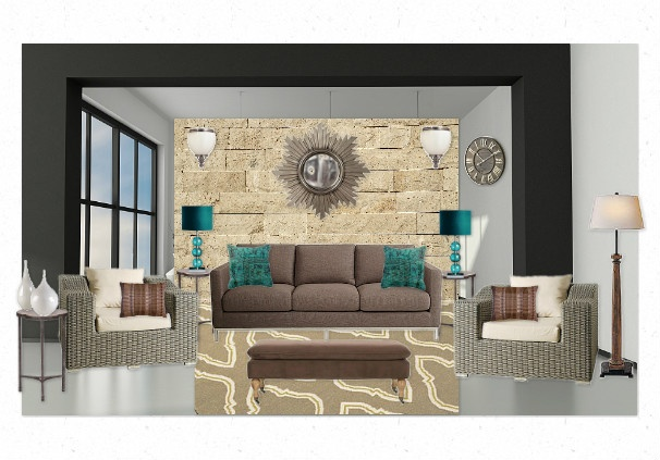 Neutral tone living room with turquoise accents