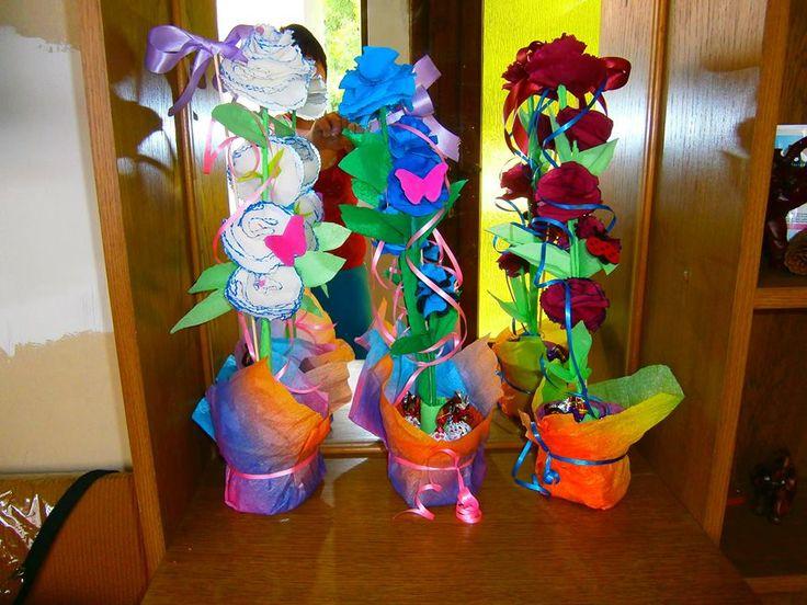 krepp papír cserepes virágok