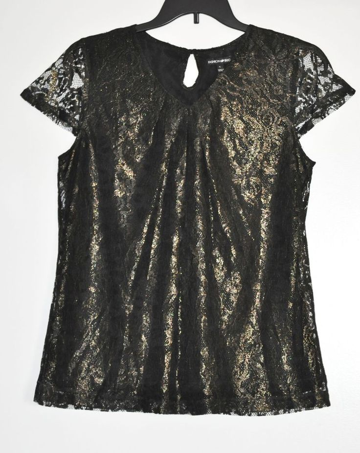 Fashion Bug Women Fashion Luxe Sparkly Blouse Lined Black Cap Sleeve size L NWT #FashionBug #Blouse #EveningOccasion