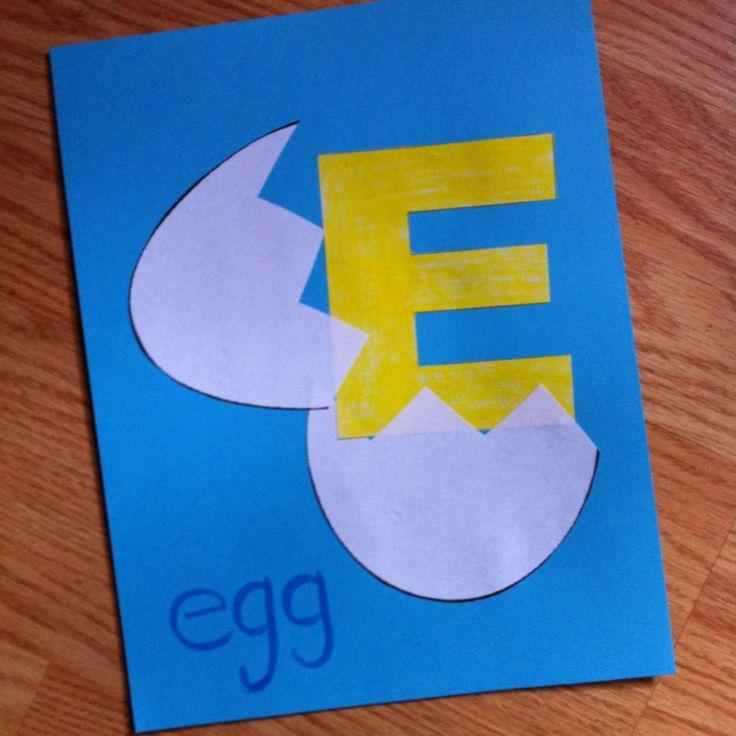 E is for egg craft. Letter E