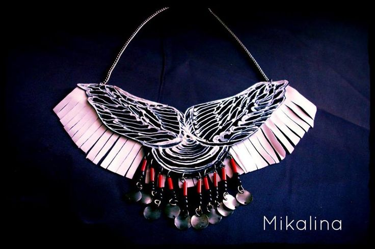 Leather wings handpainted..