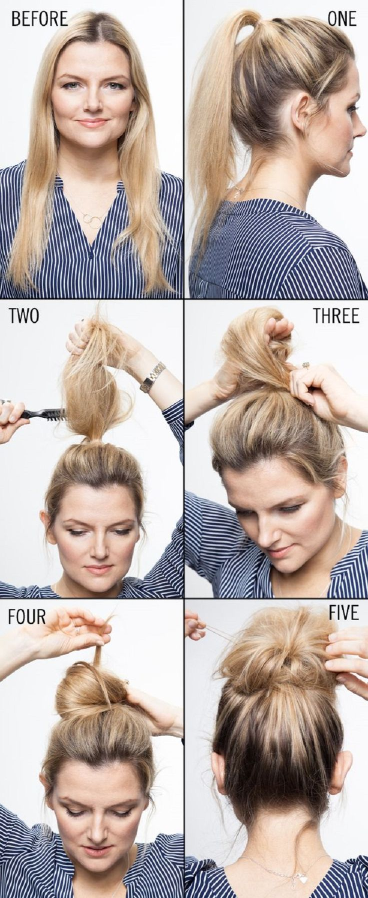 Hair Howto Styling A Topknot 15 Messy Hairstyle Tutorials From Pinterest To  Master