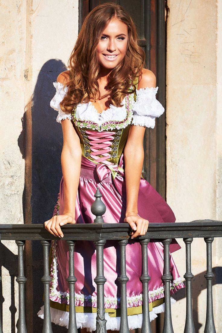 Dirndl midi Viola, festlich in grün-rosa, Krüger Feelings   Dirndltopia