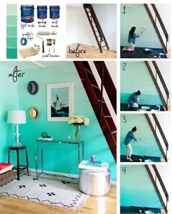 azurblaue Farbe  Wand Flur streichen