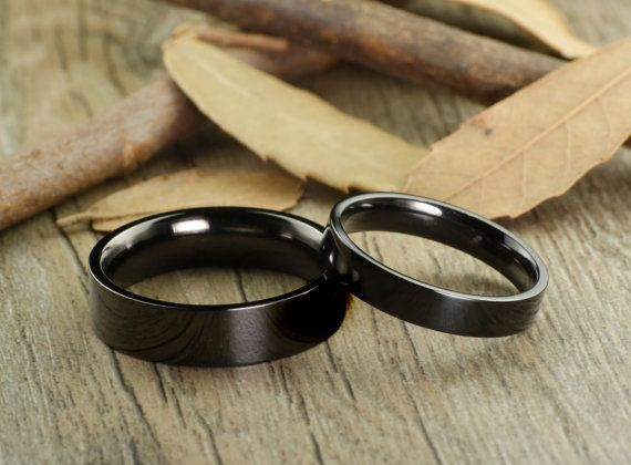 Handmade Black Flat Plain Matching Wedding Bands by JRingStudio