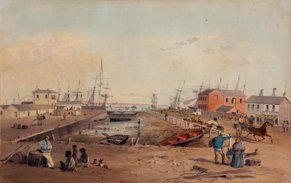 S.T. Gill - Port Adelaide looking north along Commercial Road 1847