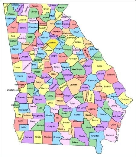 Georgia Map Of Counties And Cities.Georgia County Map With Cities Pictures County Map Georgia With